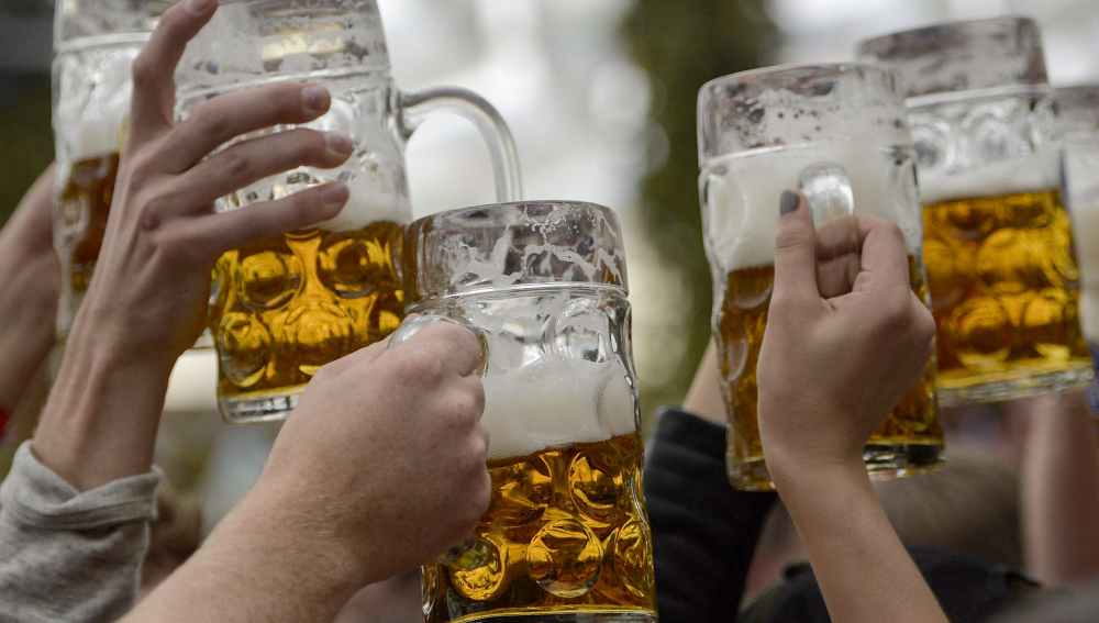 MUNICH, GERMANY - SEPTEMBER 19: Revellers enjoy free beer at the Hofbraeu tent on the opening day of the 2015 Oktoberfest on September 19, 2015 in Munich, Germany. The 182nd Oktoberfest will be open to the public from September 19 through October 4 and will draw millions of visitors from across the globe in the world's largest beer fest. (Photo by Philipp Guelland/Getty Images)
